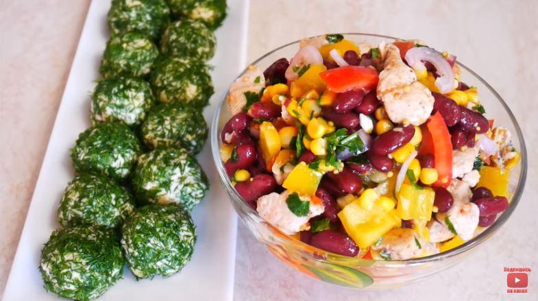 Салат с куриным феле без майонеза и закуска с печенью трески