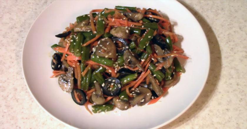 Вкусный салат для гурманов с фасолью и грибами!