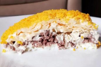 Невероятный салат с куриной печенью и сыром!