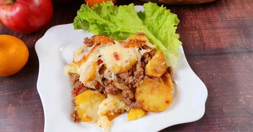 Вкусный картофель с фаршем под сырной корочкой всего за 30 минут!