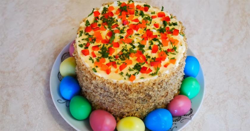 Сытный Пасхальный салат с языком и перепелиными яйцами!