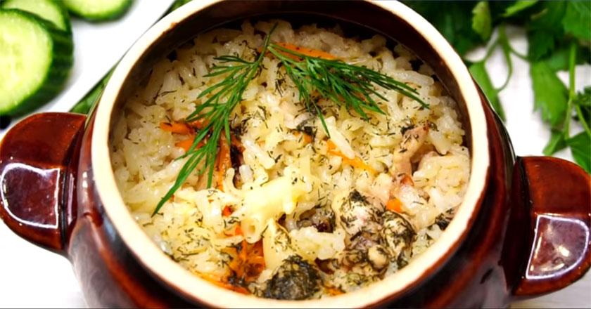 Быстрый ужин за 30 минут! Выпекаем рис и мясо в горшочках!