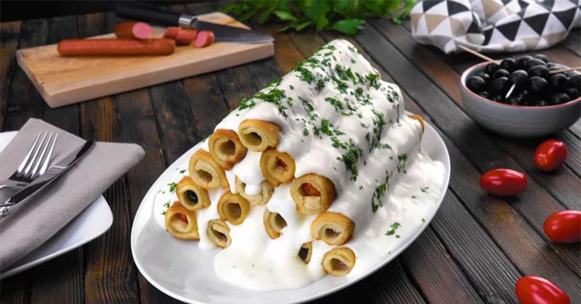 Трубочки с черри, оливками и сосисками! Оригинальное угощение для гостей!