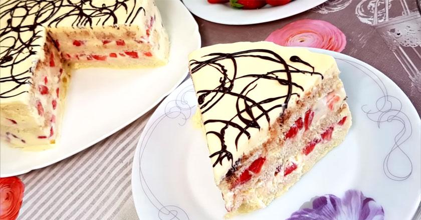 Вкусный торт с клубникой за 5 минут! Не нужно выпекать!