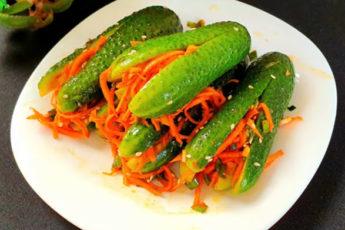 Острые огурчики с ароматной морковью! Пикантное лакомство за несколько минут!