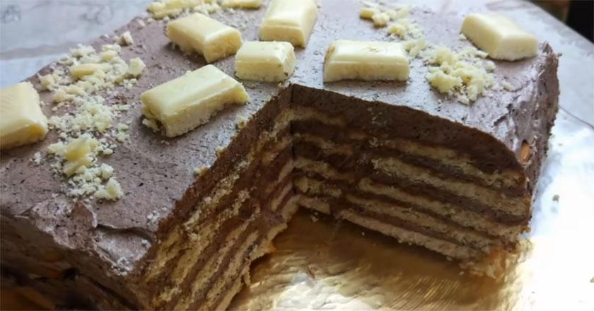 Шоколадный торт к чаю без выпечки!