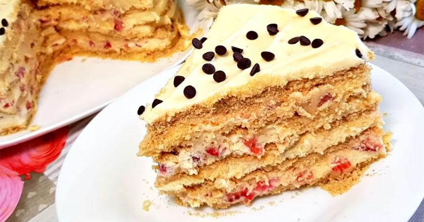 Торт с клубникой за 15 минут - без выпекания коржей!