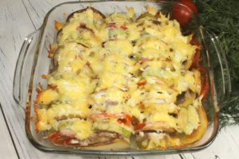 Вкуснейшая запеканка из овощей с сочным фаршем под сырной корочкой!