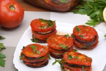 Баклажаны с томатами - идеальное сочетание для холодной закуски!