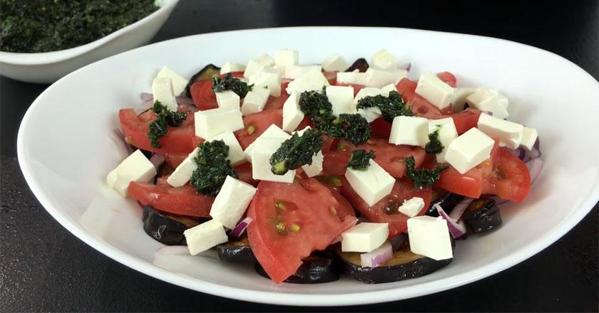 Легкий салат с баклажанами и сыром фета!