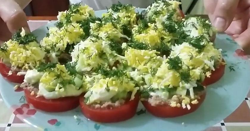 Сочные помидоры с рыбкой! Гости будут в восторге!