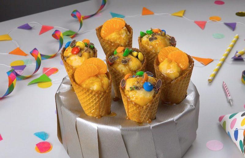 Простые и очень вкусные кексы с газировкой, запеченные в вафельных рожках. Гениально!