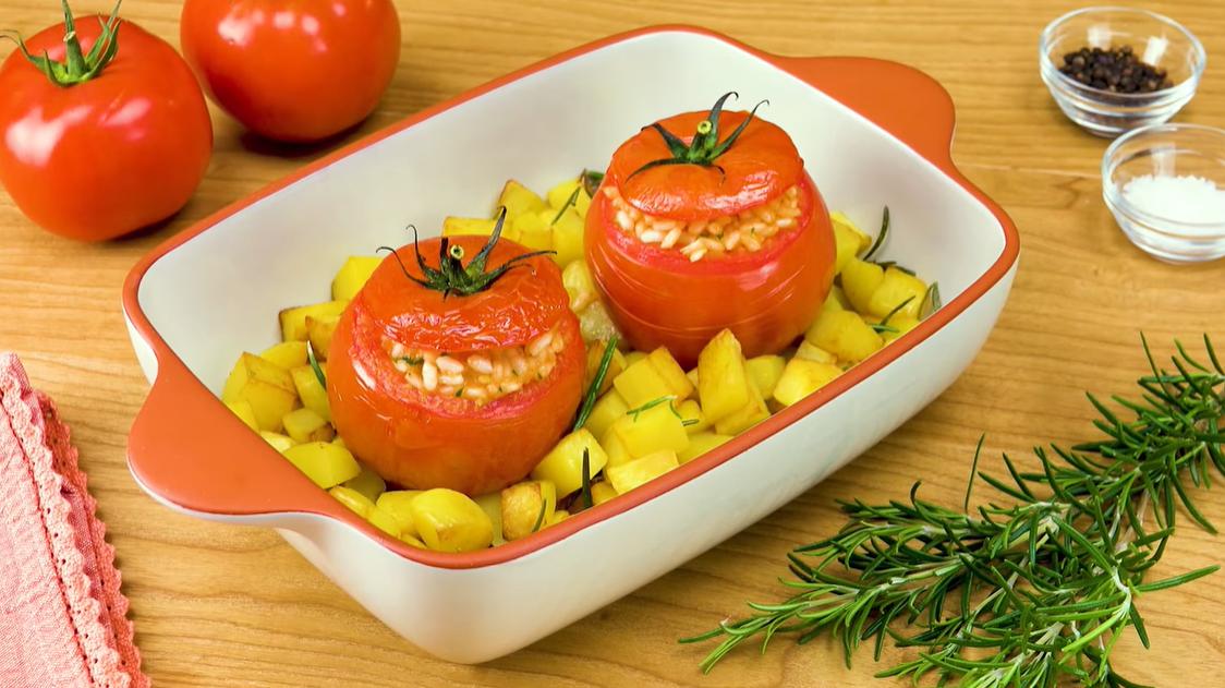 Фаршированные помидоры с рисом: простой и вкусный рецепт без мяса.