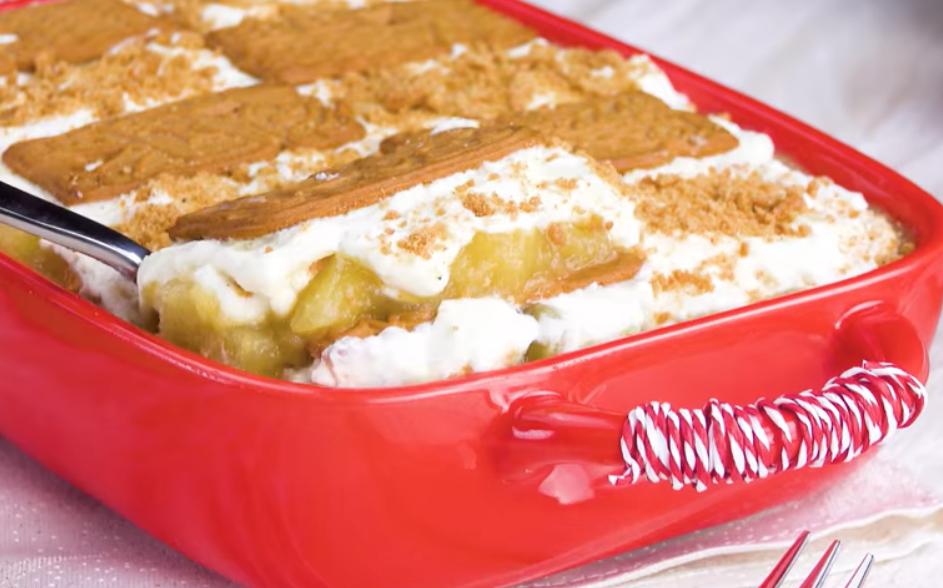 Зимний десерт из яблок и печенья - простой и очень вкусный рецепт к празднику.
