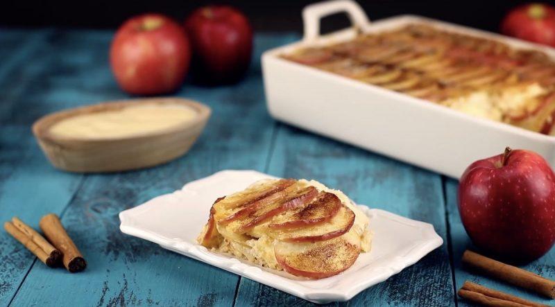 Яблочная запеканка с манкой: очень простой, ароматный и вкусный десерт.