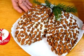 """""""Шишки на ёлке"""" - рецепт оригинального новогоднего салата. Готовится буквально за пару минут."""