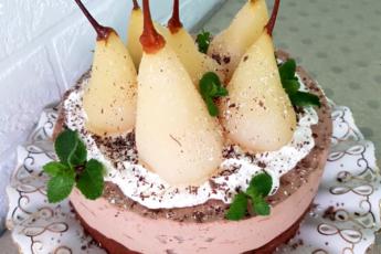 Очень красивый торт с грушами