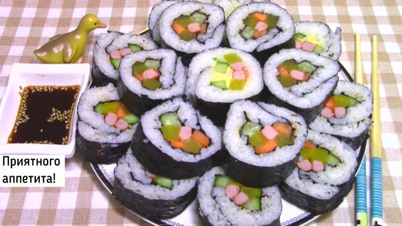 Как приготовить корейские роллы Кимпаб с ветчиной