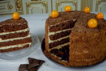 Десерт на все времена – бисквитный шоколадный торт с апельсиновым кремом