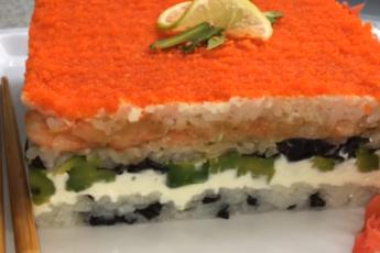 """Слоеный салат """"Ленивые суши"""""""