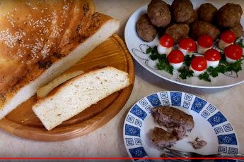 Ароматный картофельный хлеб и котлеты в духовке