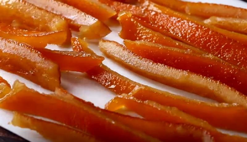 Простые цукаты из апельсиновой корки без сахара