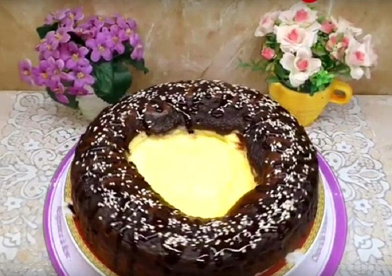 """Пирог """"Вулкан"""" взорвал мои рецепторы. Нежный запеченный крем и шоколадное тесто - торжество вкуса"""