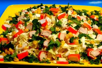 Сочный и легкий крабовый салат