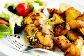 Курица со сладким картофелем. Горячее блюдо на второе – сразу и мясо, и гарнир