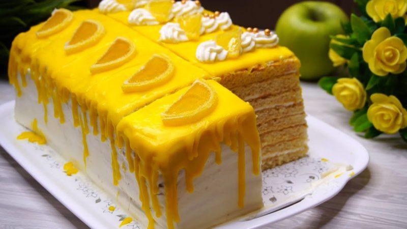 Вкусный торт «Лимонная девочка». Как солнышко, очень яркий и красивый