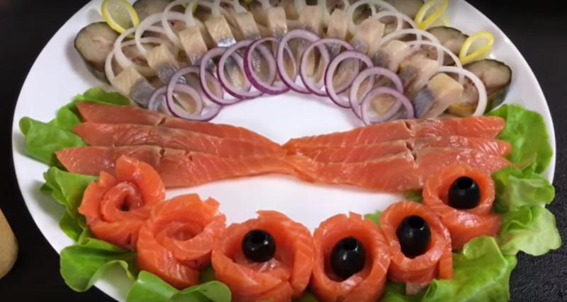 Красивая рыбная нарезка для праздничного стола