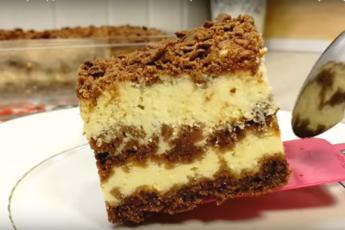 Творожный торт с шоколадным тестом